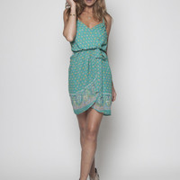 Paisley Green Braided Strap Wrap Dress