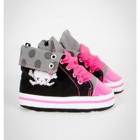 Infant Silver Dot Foldover High Top Shoes