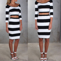 Monochrome Stripe Cut-Out Midi Dress