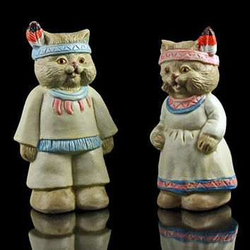 Salt and Pepper Shakers, Indian Cats, Porcelain