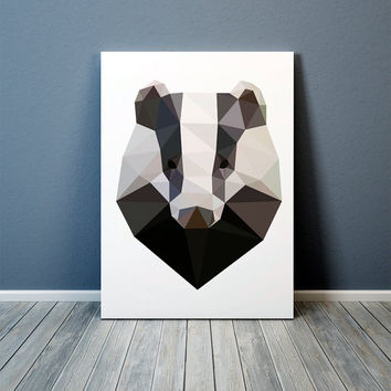 Geometric Badger art Nursery print Colorful decor Animal poster TO332-1