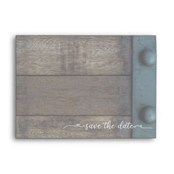 Rustic save the date envelope