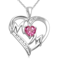 """Sterling Silver Created Pink Sapphire and Diamond-Accent """"Mom"""" Heart Pendant Necklace, 18"""""""