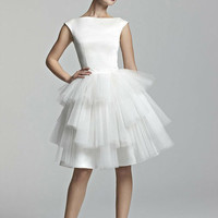 cute white satin and tulle short tutu wedding dress