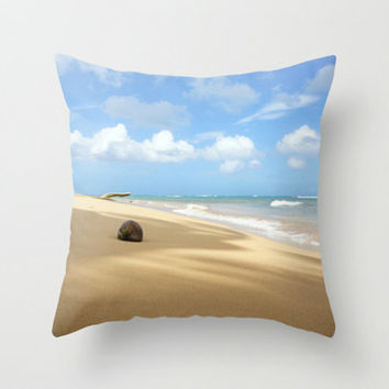 Beach Home Decor Pillow Cover, Beach Photography of Turquoise Ocean Waves Blue Sky Neutral Sand, Beach Cottage Decor Bedding