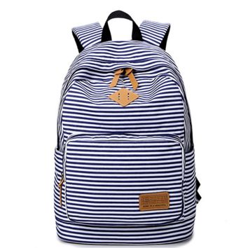Navy Blue and White Cute Travel Bag Canvas Backpack