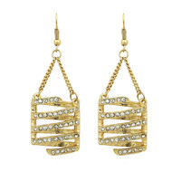 Twisted Gold and Crystal Earrings