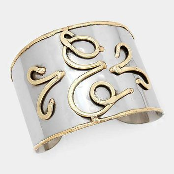 'E' Hand Made Two Tone Metal Monogram Cuff Bracelet