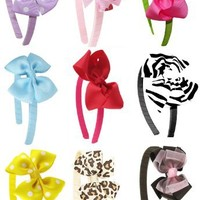 Ship From USA--HipGirl Boutique Girls 18pc Interchangeable Hair Bow and Headband Set--Zebra, Leopard, Cherry, Polka Dots etc