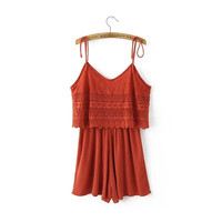 Women's Fashion Hollow Out Summer Spaghetti Strap Lace Backless Jumpsuit [4905585668]