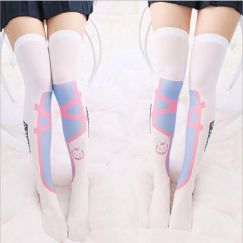 1 Pair Summer Thin OW D.va Cosplay Stockings Kawaii Girl's Comfortable Game thigh high stocking lovely Dva over knee stockings