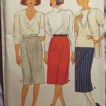 Sale Uncut 1980's Butterick Sewing Pattern, 3427! 18-20-22/XL/XXL/Plus/Women's/Misses/Straight Skirts/Pleated Skirts/Gathered Skirts/Knee/Ca