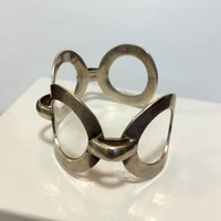 Vintage Sterling Silver Bracelet Modernist Mexican Cuff Geometric Wide Bangle Art Deco Mid Century Antique Estate Jewelry 1960's Mexico