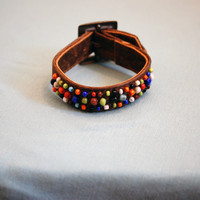 Beaded Leather Buckle Bracelet