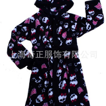 One Piece Skull Pijamas Kids Robe Coral Fleece Thickening Baby Boys Clothing Winter Unisex Children Bathrobe