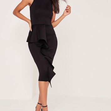 Missguided - High Neck Frill Skirt Midi Dress Black