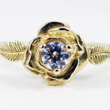 14k Yellow Gold White CZ Rose Ring
