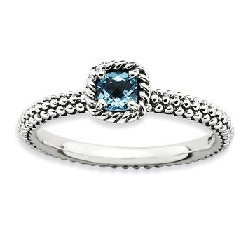 Antiqued Sterling Silver Stackable Blue Topaz Ring