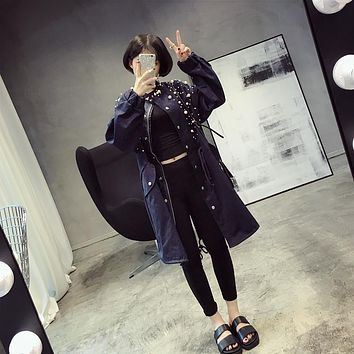 [Soonyour] 2017 spring new Korean long section beaded drawstring waist denim windbreaker jacket women KS2186
