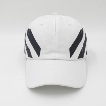 Off White Embroidered Adjustable Cotton Baseball Golf Sports Cap Hat