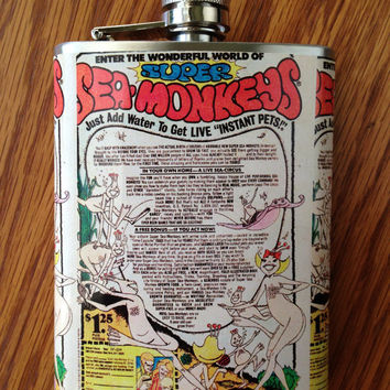 Sea Monkeys Vintage Comic Book Stainless Steel Hip Flask