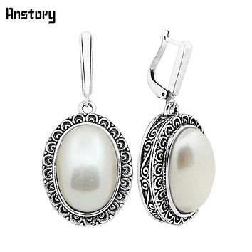 Big Oval Pearl Earrings For Women Vintage Antique Silver Plated Flower Pendant Fashion Jewelry