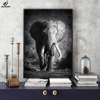 JHLJIAJUN Wild Animal Elephant Canvas Painting Black And White Prints And Posters Wall Art Decor Picture Bedroom Decor Pictures