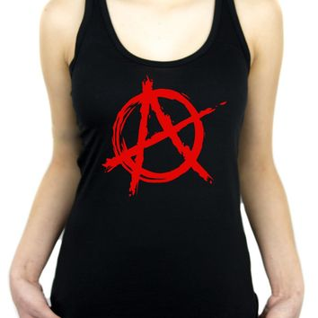 Red Anarchy Punk Rock Racer Back Tank Top Shirt