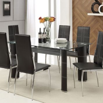 Acme 70200 7 pc riggan iii collection modern style black leather like vinyl upholstered and chrome chairs glass top dinette set