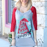 Santa Hat: Joy, Love, Peace, Believe, Christmas Lace Sleeve Raglan