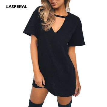LASPERAL Summer T Shirt Dress 2017 Women Deep V Neck Short Sleeve Sexy Party Dress
