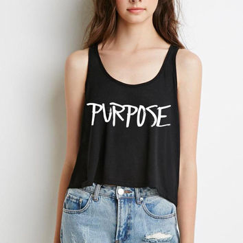 "Justin Bieber ""Purpose"" Boxy, Cropped Tank Top"