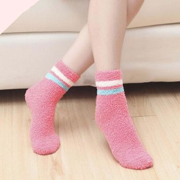 Fashion High Quality 8 Colors Mens Women Warm Coral Fleece Stripe Slipper Non-slip Cotton Socks Floor Towel #LSN