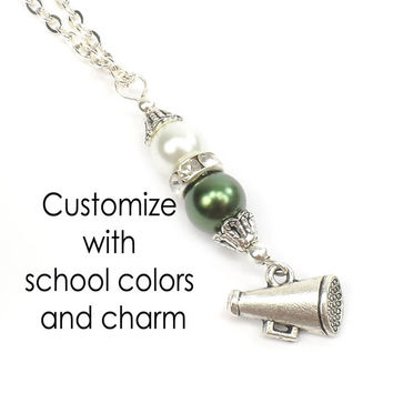 School Necklace: Choose from Cheerleader, Band, Football, Basketball, Baseball