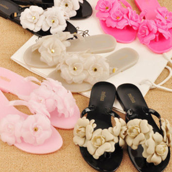 Melissa jelly camellia cool slippers Thong sandals Glass slipper