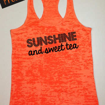 Tank Top of the Month. Sunshine and Sweet Tea. Southern Girl Tank. Country Tank Top. Southern Tank. Country Shirt. Free USA Shipping