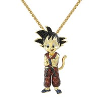 "Designer Custom Iced Out New Goku Cartoon Character  Pendant with Free 24"" Steel Box Chain"