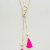Hot Pink Double Tassels Necklace