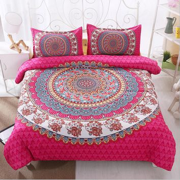 Mandala Sanded Home Textile Bedding Set 2/3pcs Microfiber Fabric Bohemia Duvet Cover Set Pillowcases Queen/California King Size
