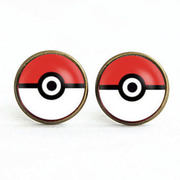 Handmade Pokemon Pokeball earrings Pokemon Pokeball post earring Pokemon Pokeball arrings Jewelry, Gift