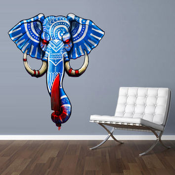 Full Color Wall Decal Mural Sticker Decor Art Floral Elephant Gift Ganesh dagger Om Tattoo Mandala Tribal Buddha Bedroom Office Dorm (mcol1)