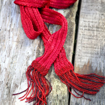 Long Scarf/ Knitted Scarf/ Summer Scarf/ Women Accessoryes/ Scarf With Beads/ Viscose Scarf/ Thin Scarves