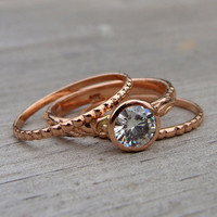 Moissanite and Recycled 14k Rose Gold Stacked Engagment Ring and Wedding Band Set - Diamond Alternative - Made to Order