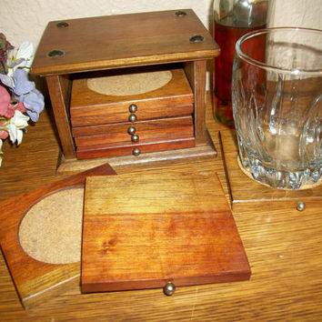 Coasters Wood and Cork Trivets with Caddy Vintage Barware Entertaining Tableware 1970's Home Bar Traditional Decor