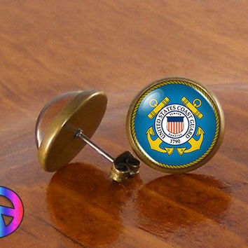 US United States Coast Guard Military Earrings Stud Jewelry Men Mens Women Gift