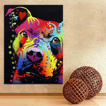 Large size Print Oil Painting Wall painting pitbull warrior dog Home Decorative Wall  Art Picture Living Room paintng No Frame