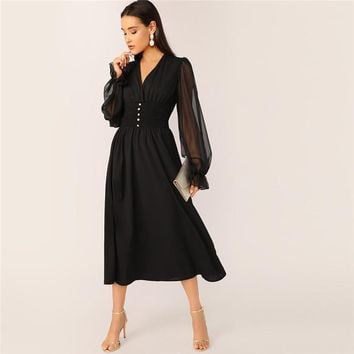 Mesh Lantern Sleeve Buttoned Shirred Waist Dress Women V Neck High Waist Ladies Black Classy Maxi Dresses