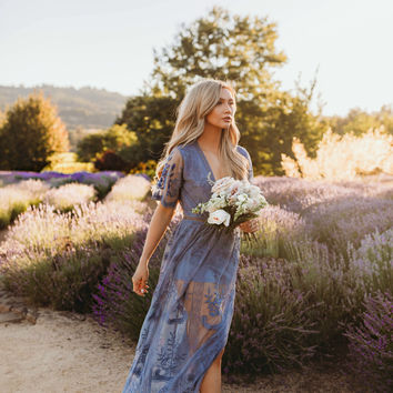 Chloe Maxi Lace Dress [Dusty Blue]