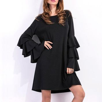 For Ladies Of All Sizes Flared Sleeve Dress