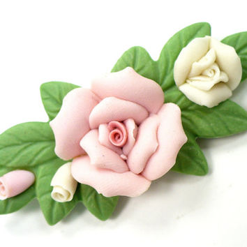 Vintage Ceramic Rose Brooch, Pink & White Roses on Green Leaves, 3D Roses, Bridal Bouquet Pin, Hair Jewelry, Gift For Her